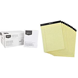 AmazonBasics 92 Bright Multipurpose Copy Paper - 8.5 x 11 Inches, 10 Ream Case (5,000 Sheets) & Legal/Wide Ruled 8-1/2 by 11-3/4 Legal Pad - Canary (50 Sheet Paper Pads, 12 pack)