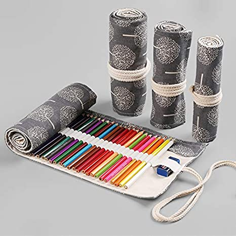 Aikesi trousse /à crayon enroulable pour 36 crayons sac /à crayons arbre noir et blanc 36+2 trous grande capacit/é porte-crayons pochettes