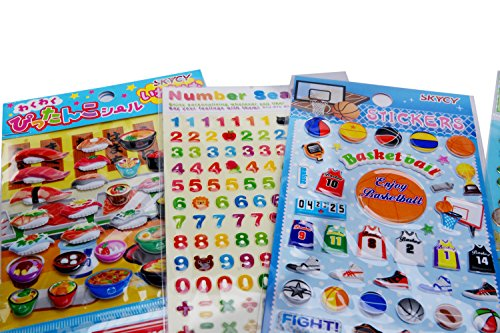 SKYCY Toddlers and Kids Puffy Stickers for Children (Girls and Boys), Great for goody bags,Puffy Sticker Activity Book(7 sheets)