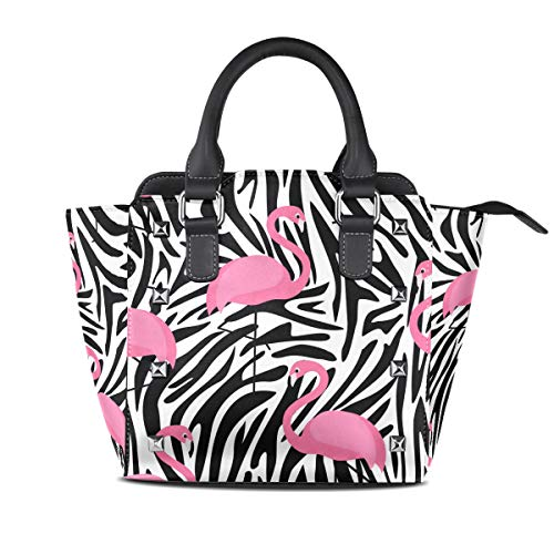 Women's Top Handle Satchel Handbag Flamingoes And Zebra Print Ladies PU Leather Shoulder Bag Crossbody Bag ()