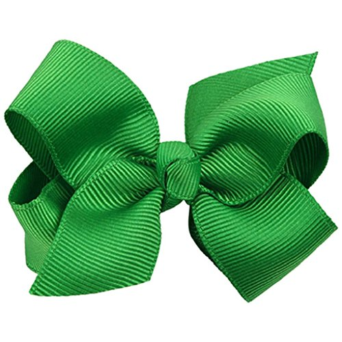 Catnew Lovely Bow Bowknot Girl Hair Duckbill Clip Solid Color Clip -Dark Green