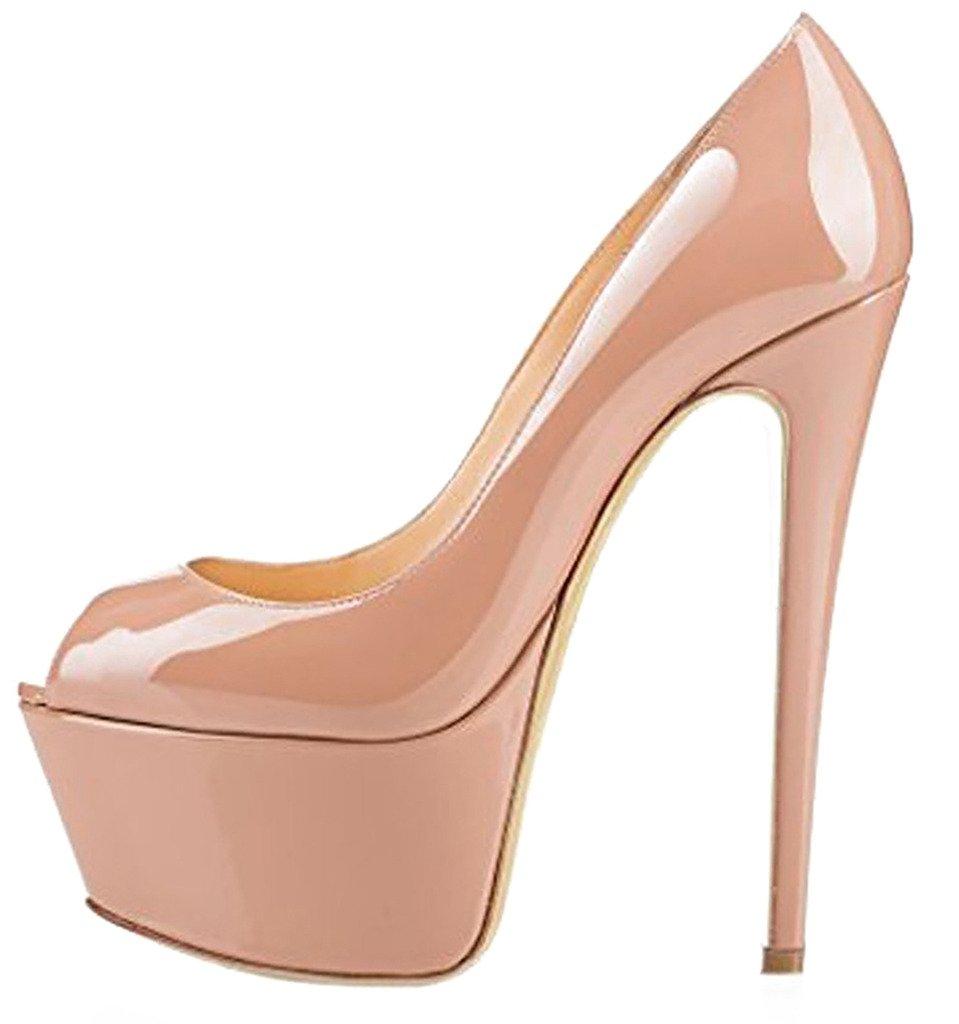 Calaier Mujer Casit Tacón De Aguja 16CM Sintético Ponerse Sandalias de vestir Zapatos 35.5|Rosa