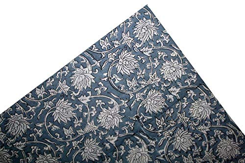 Indian Hand Block Jaipur Printed Handmade Sanganeri Print Fabric Indigo Dress Making Fabric_5 Yards
