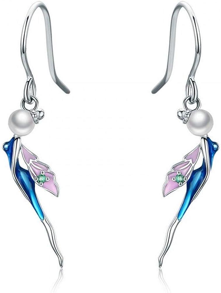 Pendientes de hada románticos 100% plata de ley 925 con forma de gota de cristal de hada para mujer, plata de ley