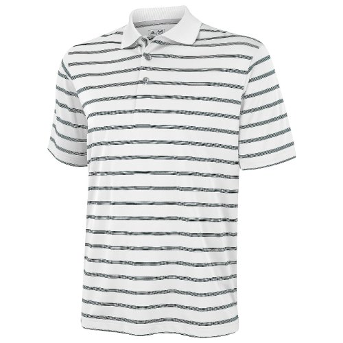 adidas Golf Mens Textured Stripe Polo Shirt (XS) (White/Black)