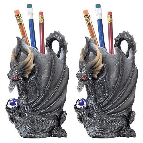 Design Toscano Escritoire Dragon Desk Accessory Sculpture (Set of 2), Multicolor (Dragon Desk Set)