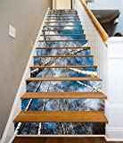 3D Birch Forest Sky 70 Stair Risers Decoration Photo Mural Vinyl Decal Wallpaper Murals Wallpaper Mural US Lemon (15x H:18cm x W:94cm (7''x37''))