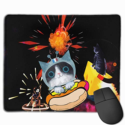 Funny Cat in Space Mouse Gaming Mouse Pad Non-Slip Smooth Desk Mat Washable Material 7.1 x 8.7 Inches(18x22CM) ()