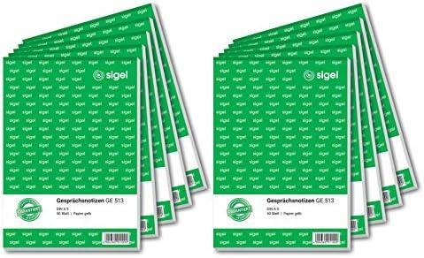 Sigel Ge513 10 Gesprächsnotizen A5 Gelb 10 Blöcke á 50 Blatt Bürobedarf Schreibwaren