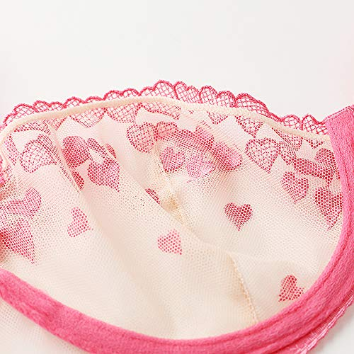 fd9a8b648d84 Amazon.com: Sexy Women's Thin Section of The Network Underwear Pink Love  Transparent Embroidery Bra Temptation Green 75C: Health & Personal Care