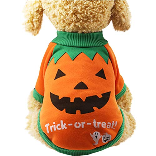 Pet Halloween Costumes for Dogs Cats Pumpkin Shirt Fleece Clothes (XS, Orange)