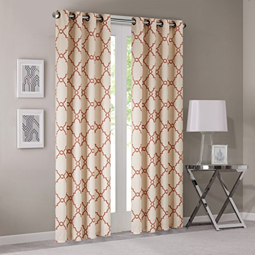 Madison Park Saratoga Basketweave Beige Ground Spice Fretwork Print Window Curtain, 50x63, Silver Grommet Top (Curtains And Treatments Discount Window)