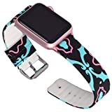 Lwsengme Compatible Apple Watch Band 38mm 42mm,Soft Silicone Flower Printed Replacement Bands Compatible iWatch Series 3,Series2,Series1,Watch Nike+,Sport