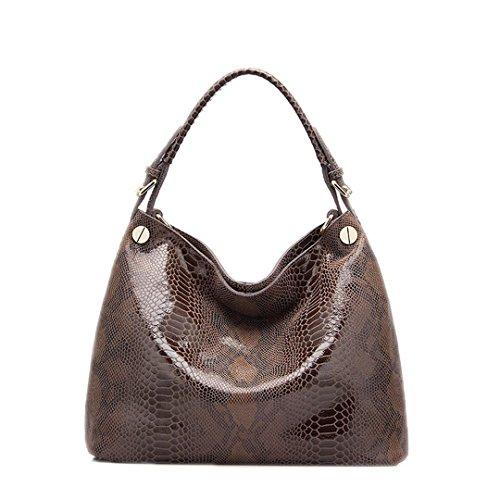 leather bag bags large prints tote shoulder handbags leather women Khaki Genuine fashion serpentine female bag hobos gxwPTdgqz6