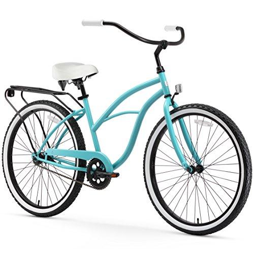 - sixthreezero Around The Block Women's Single-Speed Cruiser Bicycle, Teal Blue w/White Seat/Grips