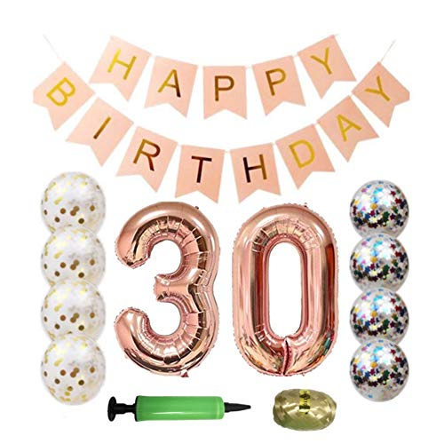 QTW 30th Birthday Party Supplies - Rose Gold 30th Birthday Balloon, 30th Birthday Banner, Confetti Balloon Decoration, Female 30th Birthday, use Them as Photo Props (Rose Gold -