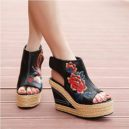 And Embroidered With Wind Hill 35 Women'S KHSKX Danfeng Fish Dew Women Mouth Shoes Sandals Black Straw 11Cm Toe National Shoes Shoes wRqgnvqZX8