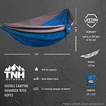 TNH Outdoors Single Camping Hammocks – Lightweight Nylon Portable Hammock, Best Parachute Hammock for Backpacking, Camping, Hiking, Beach with Free Heavy Duty Carabiner Clips