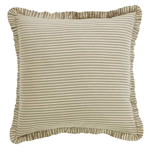 VHC Brands Farmhouse Bedding Prairie Winds Ticking Stripe Tan Euro Sham,