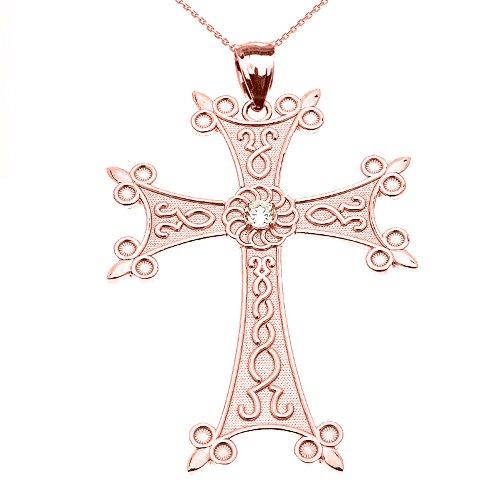 Collier Femme Pendentif 10 Ct Or Rose Élégant Arménien Croix avec Éternité Diamant (Large) (Livré avec une 45cm Chaîne)