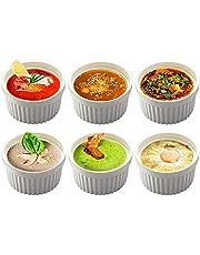 BPFY Set of 6 8 oz White Porcelain Ramekins Bakeware, Ceramic Souffle Dishes, Baking Cups for Custards, Pudding, Creme Brulee, French Onion Soup Bowls