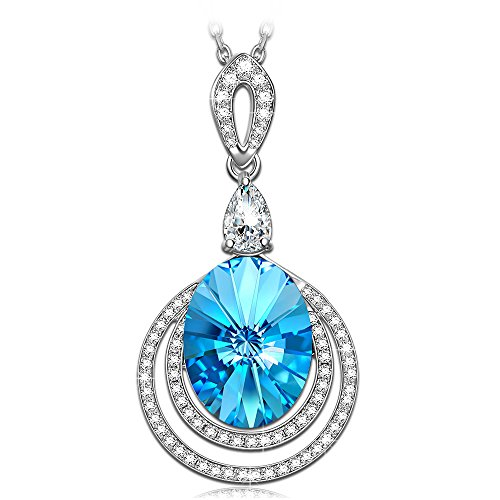 QIANSE The Big Blue Circle Pendant Necklace Swarovski Crystals Necklaces for Women Teen Girls christmas gifts for women mom wife daughter girlfriend