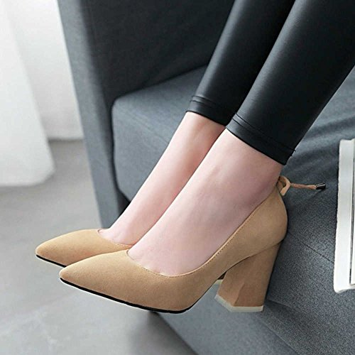 SJJH Women Court Shoes with 7-Colors and Large Beige WDphAQTA