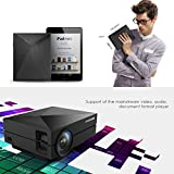 "Video Projector, GooDee Full Color 130"" Portable LED Home Theater Projector with HDMI cable 1000 lumen for Home Entertainment, Party and Games, Black"