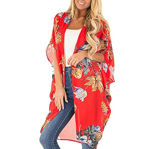 Womens Middle Sleeve Chiffon Floral Print Beach Cardigan Long Elegant Kimono ()