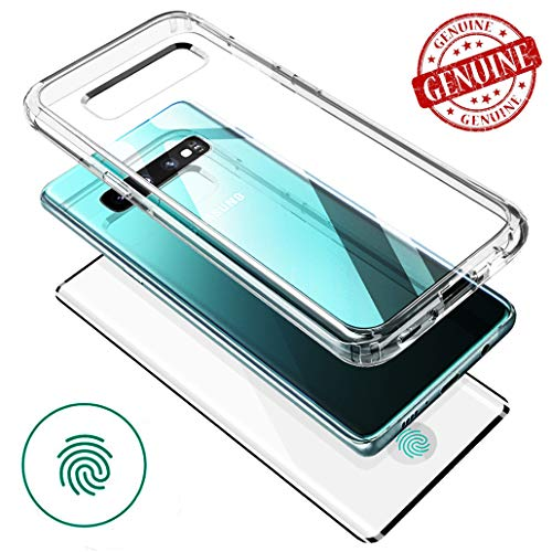 (Samsung Galaxy S10 Plus Case Clear Full Body Case Transparent Shockproof Rugged Hybrid Front Real Tempered Glass kit [VVUP] -Support Fingerprint Unlock Sensor Position-)