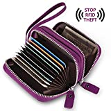 Genuine Leather Safe RFID Block Security Travel Wallet for Women, Ladies Accordion Style Credit Card Holder with string bracelet and 11 Card Slot 2 Cash Room Zipper Closure - Anti Scan Theft, Purple