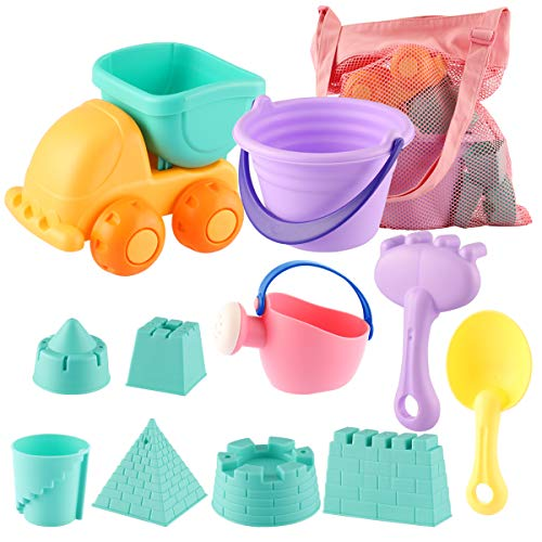 Princess Bucket Set (MIFXIN Beach Sand Toys Set for Kids Toddlers 12Pcs Beach Toys Sandbox Toys with Sand Truck Bucket Shovels Rakes Beach Castle Molds Water Can Storage Bag)