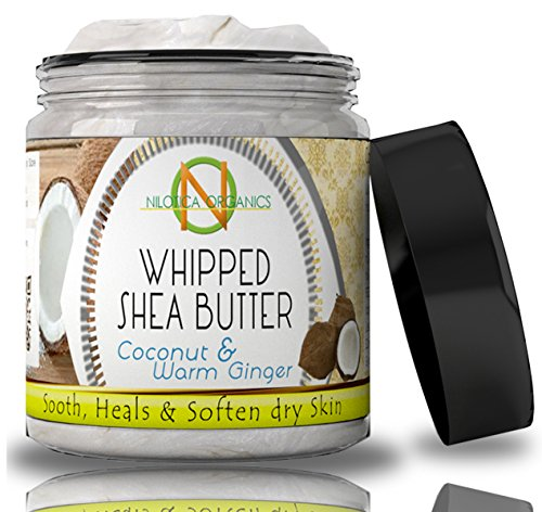 Organic Whipped Shea Butter (Nilotica Organics Natural Whipped Shea Butter Cream with Coconut and Ginger for Skin)