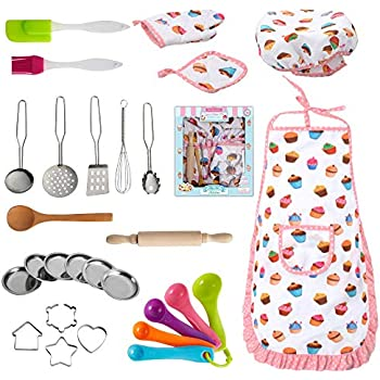 Nearbyme Kids Cooking and Baking Chef Set - 28 Pcs Includes Apron, Chef Hat, Oven Mitt, Pot Holders, Plates, Rolling Pin, Spoon, Cookie Cutters and Baking Utensil for Age 3+ Girls Gift