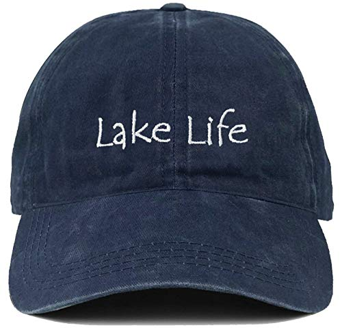 Funky Junque Dad Hat Unisex Cotton Low Profile Distressed Vintage Baseball Cap (Lake Life - -