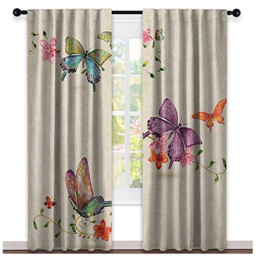 Butterfly Wear-Resistant Color Curtain Butterfly Collection on Vintage Background Spiritual Wings Moth Transformation Waterproof Fabric Multicolor