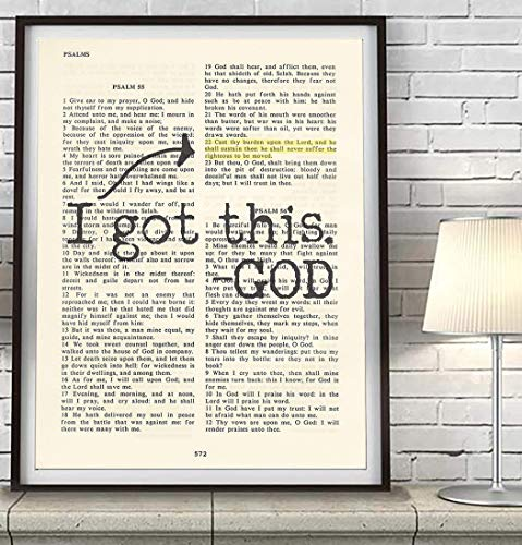 Vintage Bible verse scripture – I Got this -God – Psalm 55:22 Christian ART PRINT, UNFRAMED, Cast your cares on the Lord and He will sustain you dictionary wall & home decor poster gift