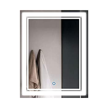 Vertical LED Bathroom Silvered Mirror with Touch Button