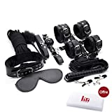 10 Pcs Bed System Kit with Comfortable Handcuffs and Ankle Cuffs Fits Almost Any Size Mattress(Black …