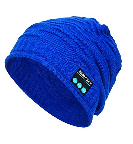 CoCo Fashion Wireless Bluetooth Music Beanie Hat Cap Built-in Stereo Speakers Winter Sports Fitness Casual Activities (MZ012_Blue)