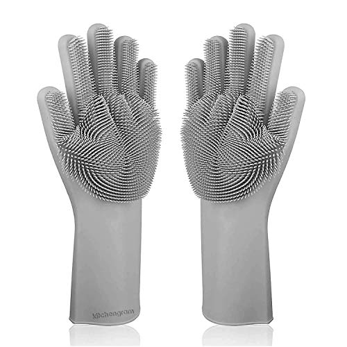 KITCHENGRAM SKYCANDLE Silicone Cleaning Hand Gloves (Free Size, Grey, Pack of 1 pair )