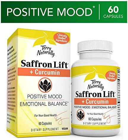 Terry Naturally Saffron Lift Plus Curcumin – 60 Vegan Capsules – Positive Mood Emotional Balance Supplement – Non-GMO, Gluten-Free – 60 Servings