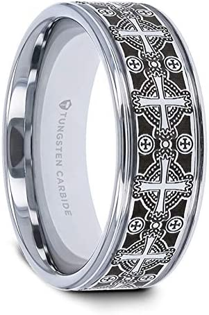 Thorsten Jewelry Titanium Wedding Ring Koa Wood Inlay Intricate Edges 10mm Band