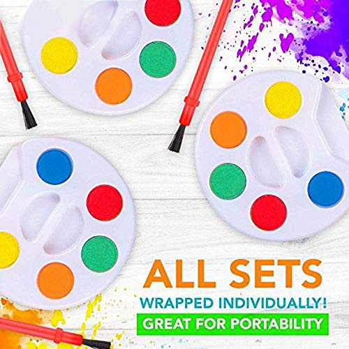 HOWBOUTDIS (24 Piece Paint Set - Party Favors - Craft Supply - Includes (5) Water Colors and a Brush - Great for Beginning Artists and Day Cares