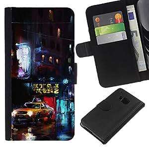 NEECELL GIFT forCITY // Billetera de cuero Caso Cubierta de protección Carcasa / Leather Wallet Case for HTC One M7 // Nueva York Yellow Cab
