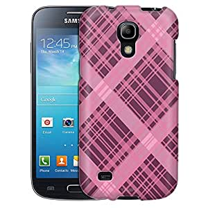 Samsung Galaxy S4 Mini Case, Slim Fit Snap On Cover by Trek Plaid Lines Pink on Plum Case