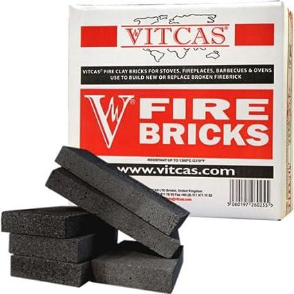 VITCAS - Ladrillos refractarios para chimeneas y estufas, color negro