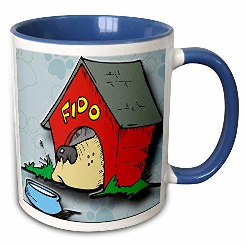 3dRose Spiritual Awakenings Animals - Fido dog house and bowl with paw print background - 15oz Two-Tone Blue Mug (mug_128881_11)