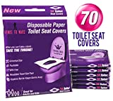 Venus To Mars Disposable Toilet Seat Covers - 70 Flushable Toilet Seat Covers for Kids, Toddlers and Adults for Use During Travel, Potty Training and Many More (7 Resealable Packs of 10): more info