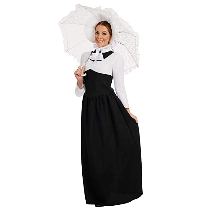 1900s, 1910s, WW1, Titanic Costumes Womens Victorian Lady Costume Adults Black & White Historical Dress Outfit $29.99 AT vintagedancer.com